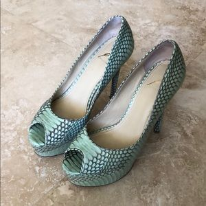 B-Brian Atwood Mint Green Python Pumps Size 8